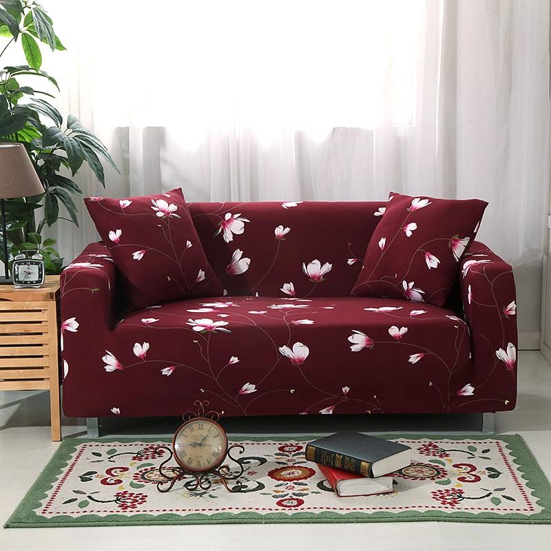 Color rojo sofá Fundas para habitación Floral elástico cubierta De sofá Fundas...
