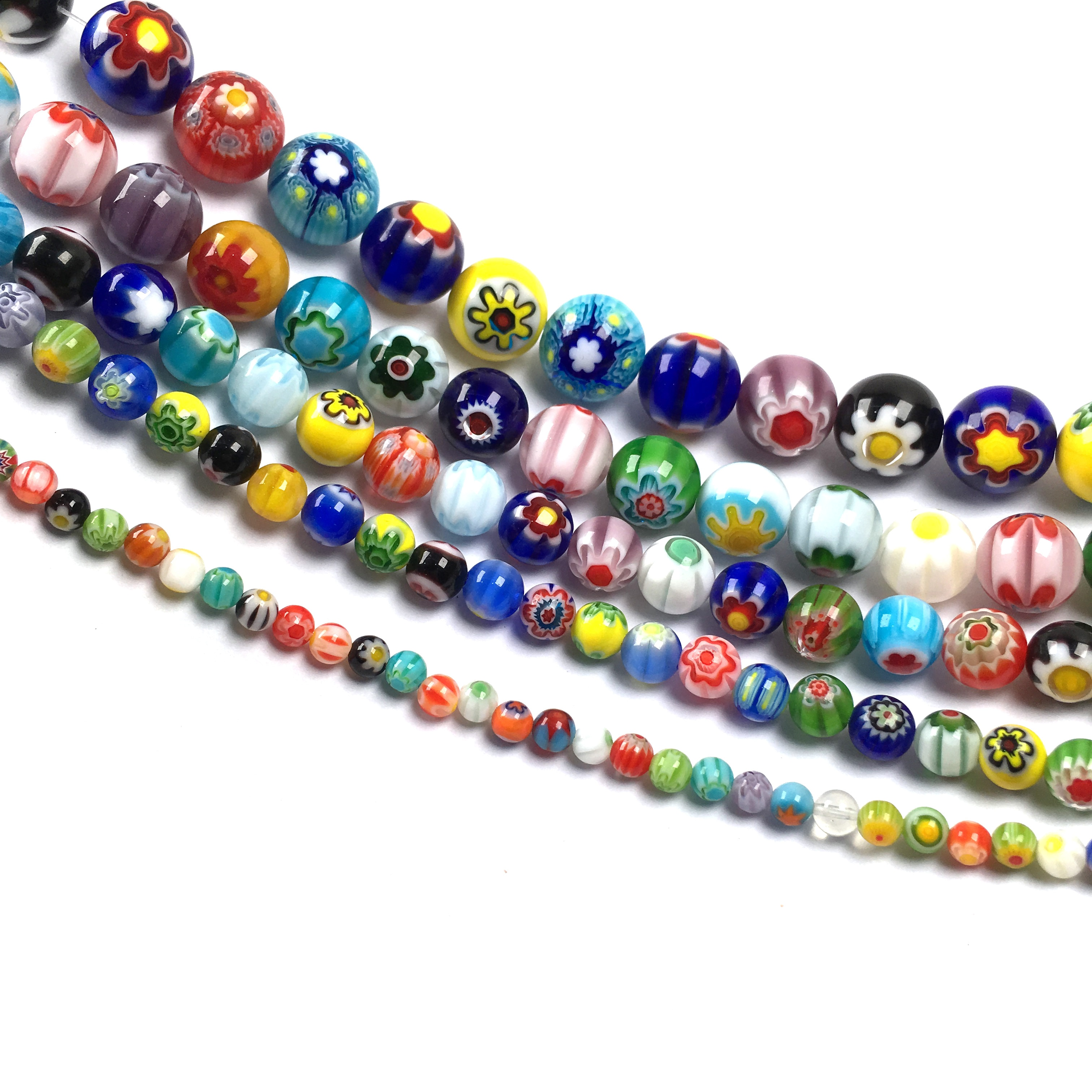 Millefiori Flower Stripe Lampwork Glass Beaded Round Loose Round Spacer Beads For DIY Bracelet Necklace Making Jewelry Findings  - buy with discount