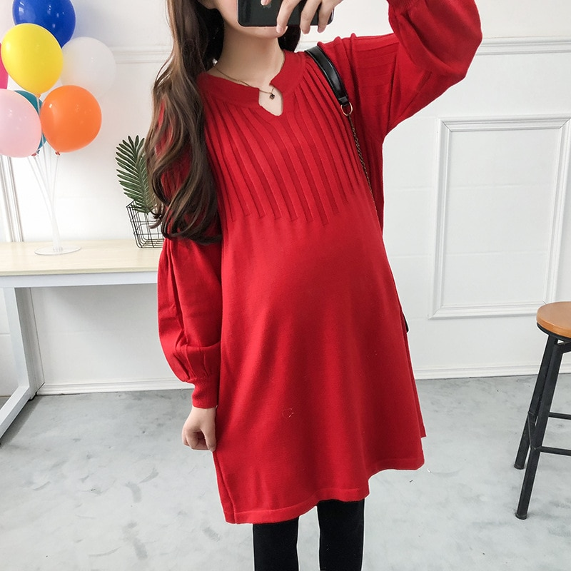 Pregnancy Sweater Plus Size Maternity Clothes Winter 2020 New Dress Pregnant Woman  Korean Oversize Knit Pullover Sweaters Loose enlarge