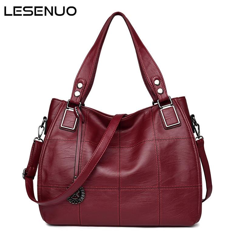 LESENUO Women Handbags Luxury Vintage Designer Large Capacity Tote Bag High Quality Big Shoulder Bag Crossbody Bag New 2021
