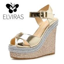ELVIRAS Wedges Shoes For Women Pumps Wedge Sandals Gold Sequin High Heels  Shoes Flange Ankle Buckle Femme Platform Sandals