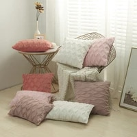 3d rhombus plush pillow cover geometric decorative throw pillow case soft cozy bed sofa cushion cover nordic home spring decor