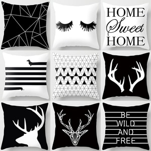 Letter Alphabet Geometric Sofa Decorative Cushion Cover Pillow Pillowcase Polyester Throw Pillow Home Decor Pillowcover 40525