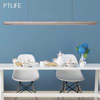 Nordic Solid Wood LED Pendant Lamp Bedroom Kitchen Light Hanging Circular Long Strip Modern Lights for Living Dining Room