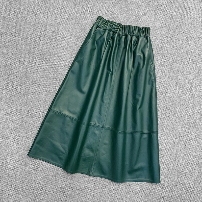 Spring Autumn Real Genuine Leather Skirts High Waist Women Clothes Vintage Korean Party Sexy Casual Black Green Midi Aline Skirt