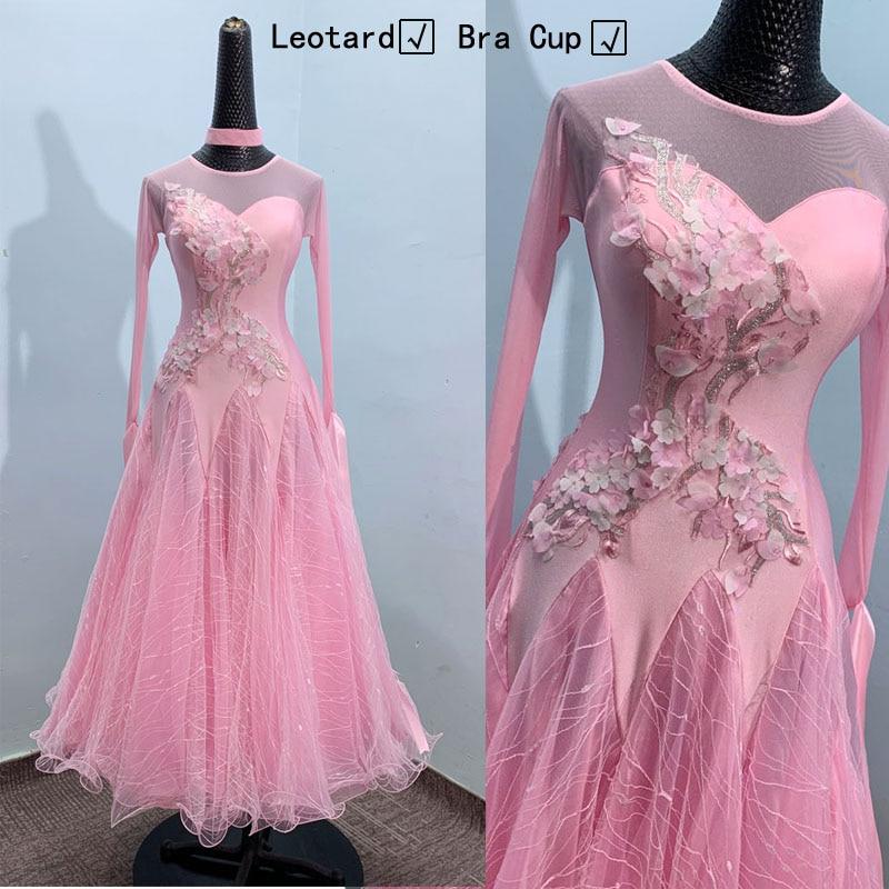 Vestido de baile de salón para mujer de manga larga, vals, tango, ropa de práctica, sujetador incorporado en color rosa