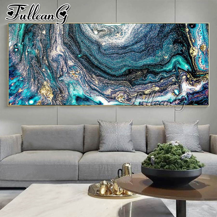 FULLCANG large size 5d diy diamond painting abstract watercolor landscape full mosaic square round embroidery needlework FC2354