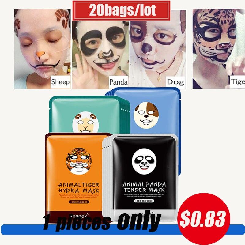 BIOAQUA 20 шт. уход за кожей Овцы/панда/собака/Тигр маска для лица увлажняющие Милые Маски для лица с изображением животных
