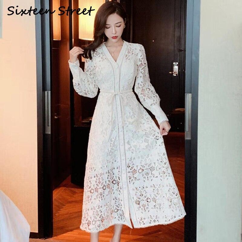 2020 nuevo vestido de mujer de Primavera de un solo pecho con cuello en V ahuecado elegante Maxi vestido de fiesta femenino chic vintage vestidos
