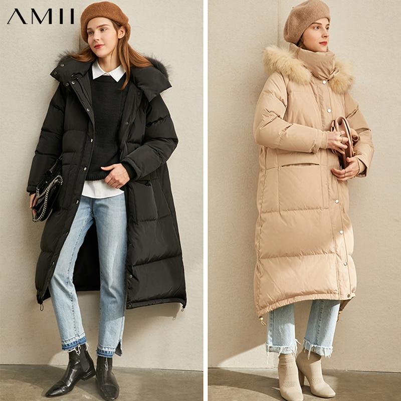 Amii minimalismo de invierno de piel de cuello abajo chaqueta de las mujeres Causal grueso largo abrigo 11940550