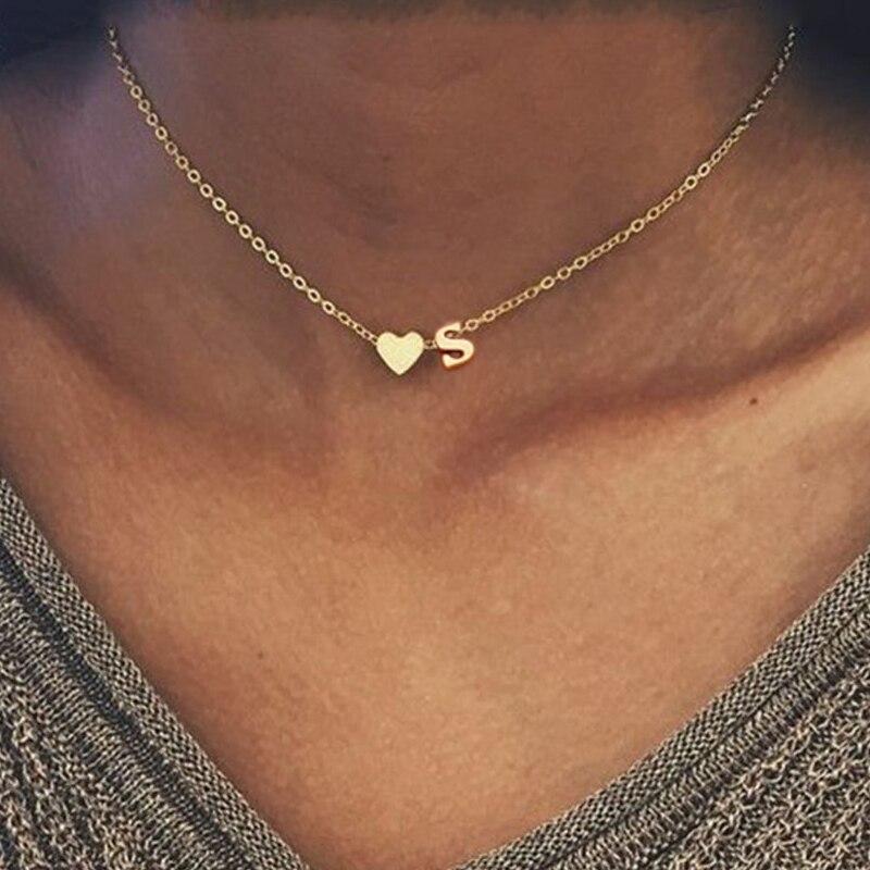 Moda minúsculo coração inicial colar personalizar nome da letra gargantilha colar para mulher pingente jóias presente da família melhor amigo