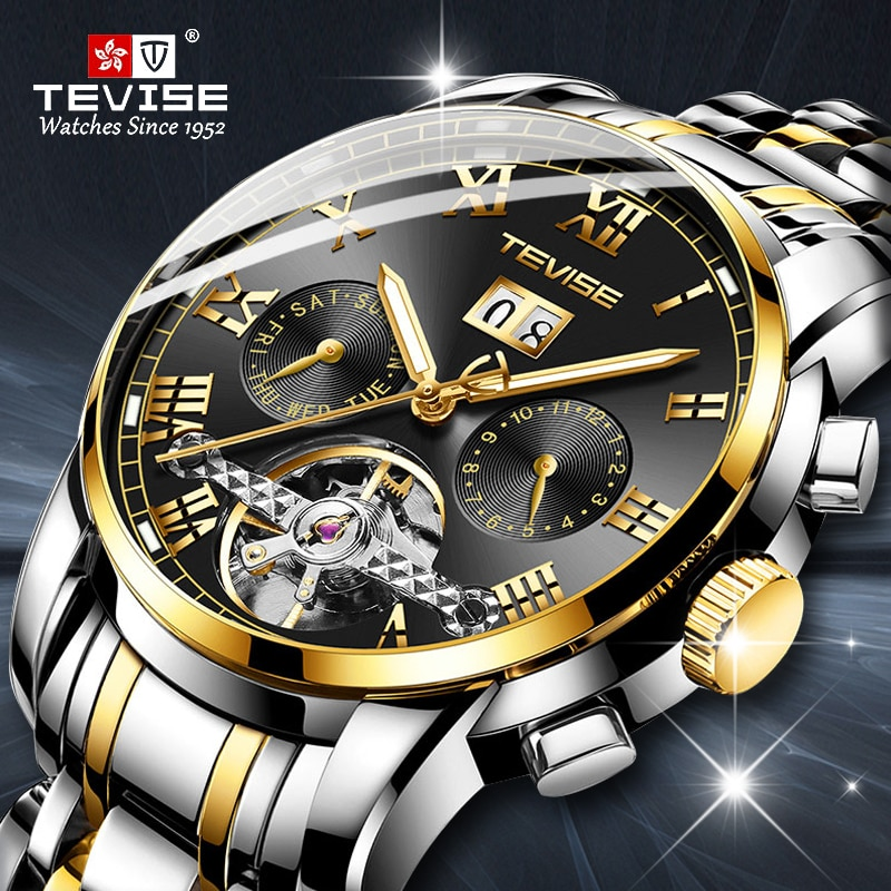 TEVISE Automatic Self-Wind Mechanical Watches Men Business Stainless Steel Wristwatch Man Skeleton W