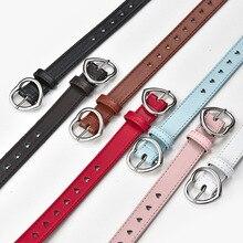 Children Faux Leather Belt Kids Cute Peach Heart Buckle Belts For Girls Solid Waistband Love Heart E
