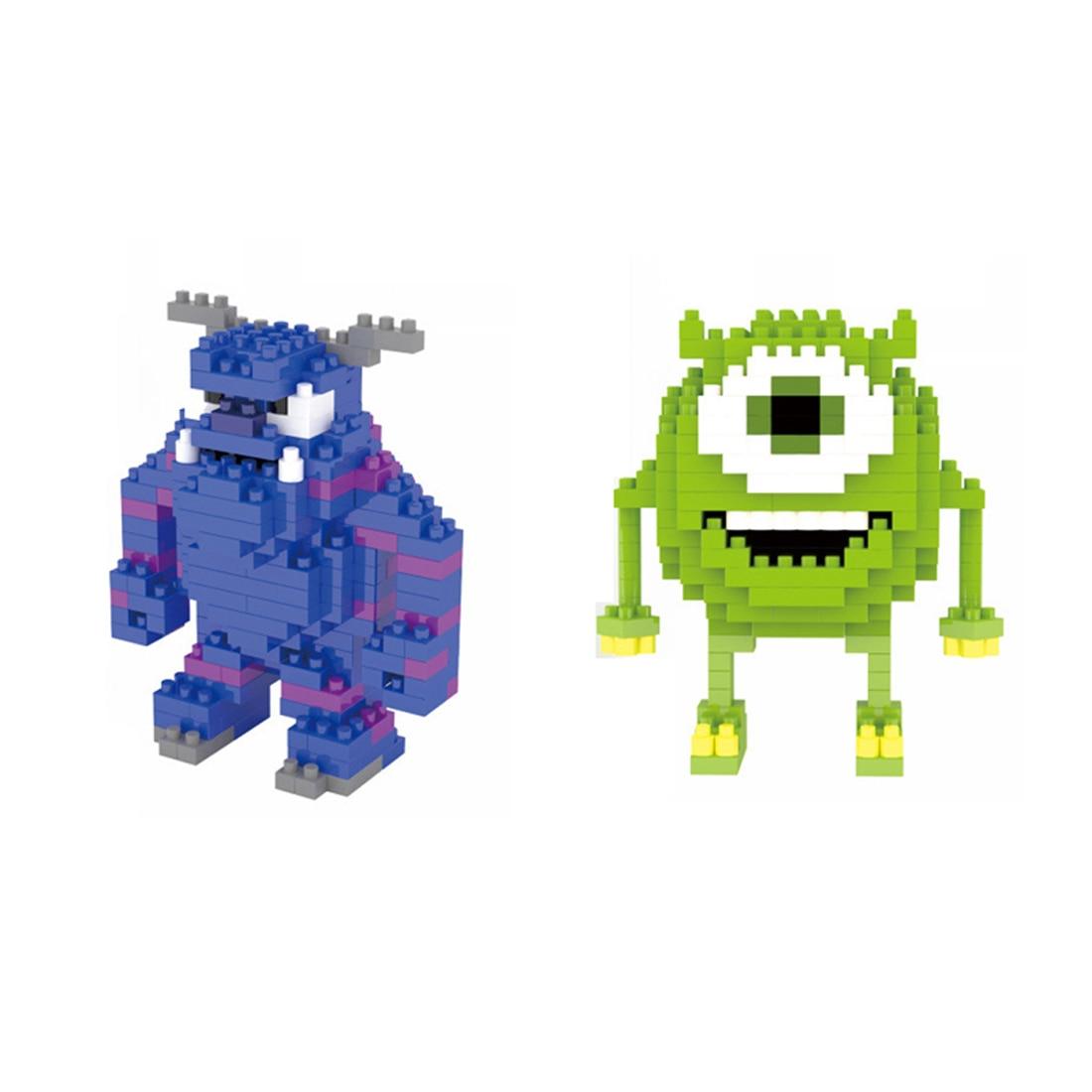 Lepining quente clássico criadores monstros desenhos animados transportando mr q mike michael wazowski mini micro diamante bloco tijolos brinquedos presente