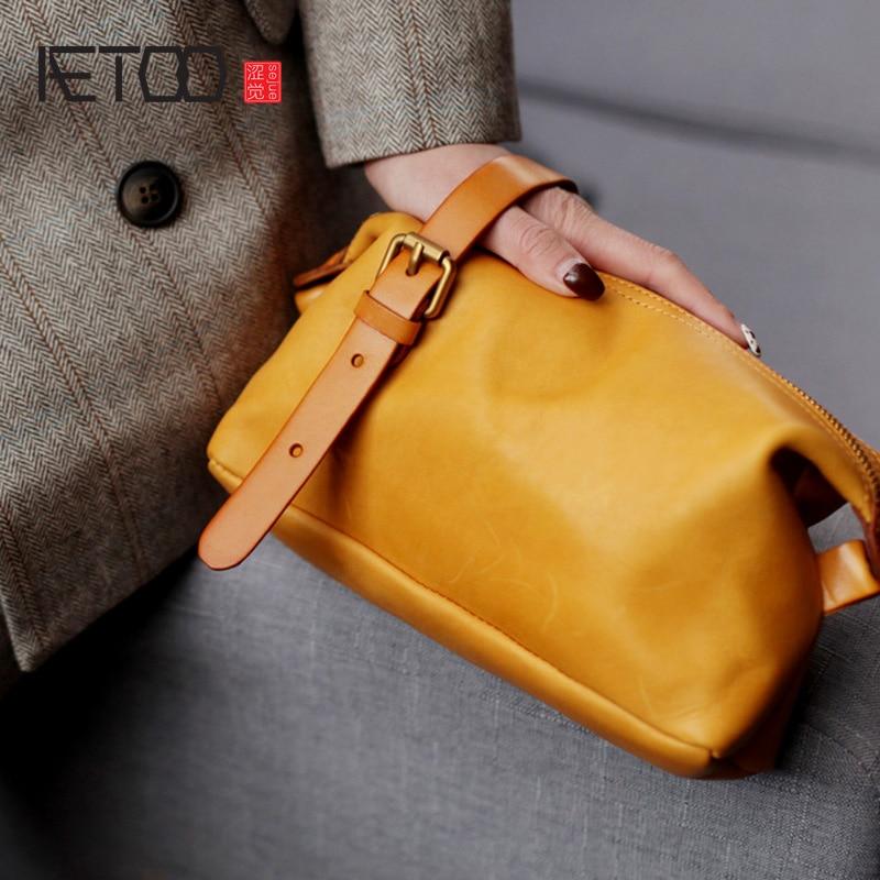 AETOO-حقيبة جلدية ناعمة للنساء ، حقيبة صغيرة ذات ملمس عتيق ، حقيبة كتف مائلة بسيطة