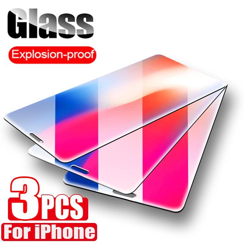 3 piezas de vidrio templado para iPhone 11 Pro Max X XS X Max XR Protector de pantalla de vidrio para iPhone 7 7 Plus 6 6s Plus iPhone SE 2020 de vidrio