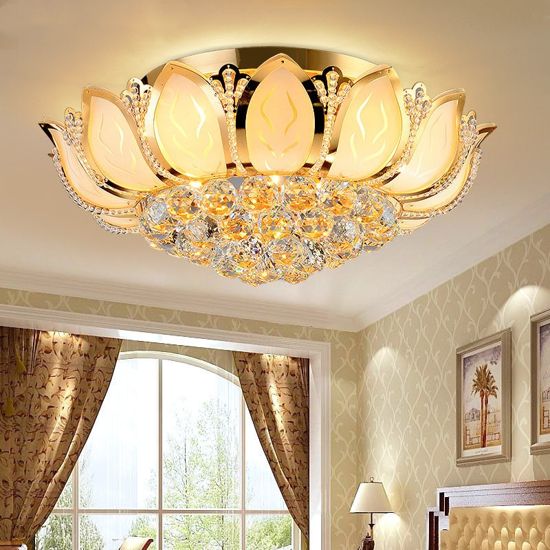 Lotus Flower Modern Ceiling Light With Glass Lampshade Gold Lamp for Living Room Bedroom lamparas de techo abajur