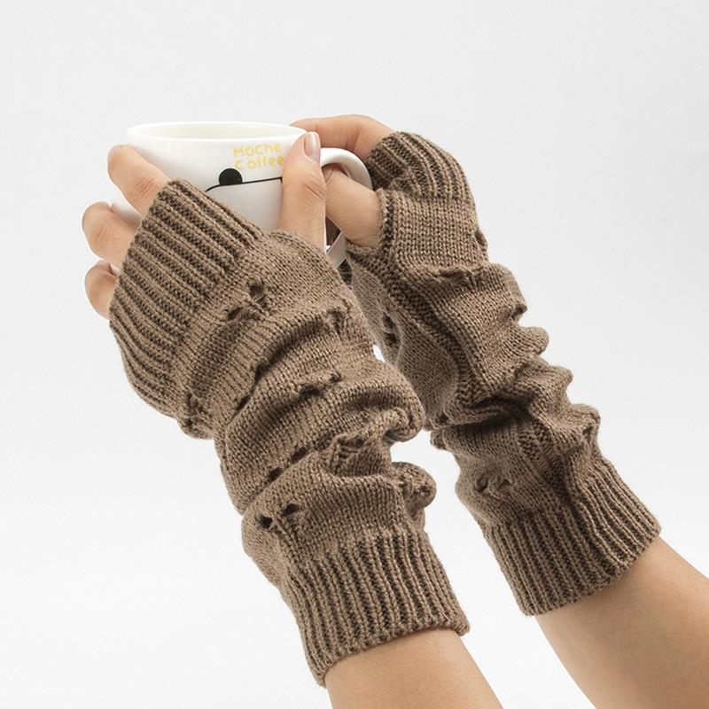 Фото - Women Gloves Stylish Hand Warmer Winter Gloves Women Arm Crochet Knitting Hollow Heart Mitten Warm Fingerless Gloves wool mittens warm fingerless gloves black hand warmer winter knitting gloves fashion gloves women arm wrist sleeve hand warmer