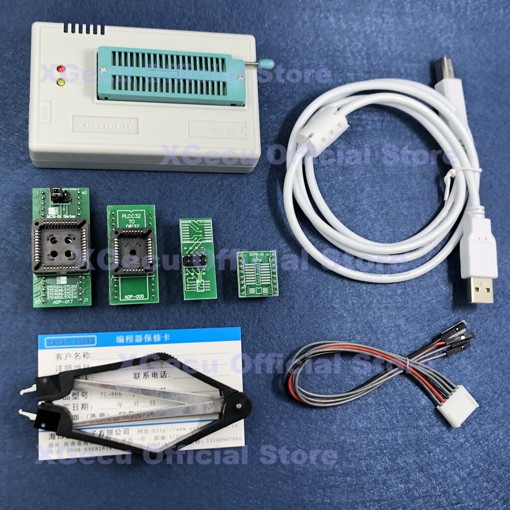 مبرمج V11.10 XGecu TL866II Plus USB عالمي يدعم 16810 + IC SPI فلاش NAND EEPROM MCU PIC AVR + 4 محولات + PLCC مستخرج