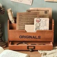 minkys retro multifunctional wooden desktop organizer desk storage box bookends books stand holder school office stationery