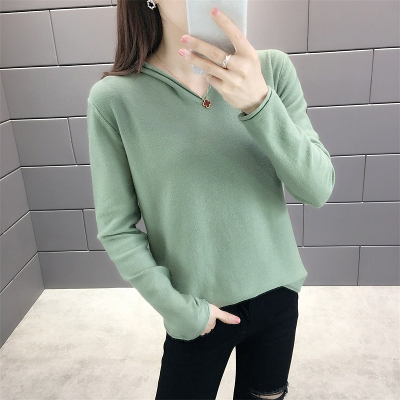 Sparsil Women Winter Wool Hooded Sweater Knitted Pullovers Solid Color Soft Warm Fashion Base Shirt Casual Long Sleeve