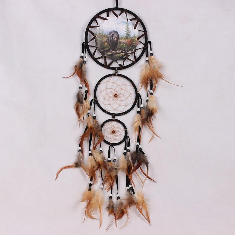 Handmade Dream Catchers Hanging Dreamcatcher Wind Chimes Indiana Feather Pendant Creative Room Decor Drop Ship