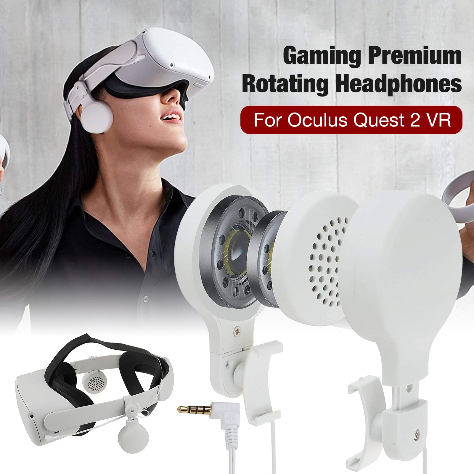 Vr Oculus Quest 2 Accessories Vr Headset Headphones Can Be Rotated 360 Degrees-up And Down Stretch Adjustment For Oculus Quest 2