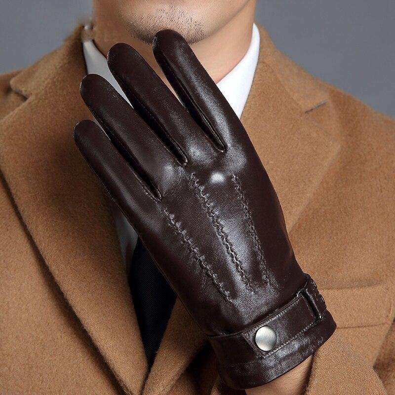 Genuine Leather Gloves Male Touch Screen Winter Warm Plus Velvet Thicken Driving Motorcycle Men Sheepskin Gloves MLZ108 winter stylish genuine leather touch screen gloves woman winter sheepskin gloves velvet lining warm telefingers gloves mlz012