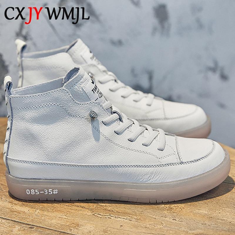 CXJYWMJL النساء حقيقية أحذية رياضية من الجلد الربيع عالية أعلى حذاء كاجوال الخريف الطبقة الأولى جلد البقر السيدات عالية أعلى أحذية مفلكنة