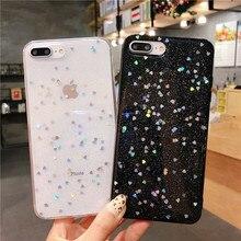 Coque de téléphone transparente étoile à paillettes pour iPhone 11 Pro XS Max XR X 7 8 6 6S Plus couverture arrière en Silicone souple