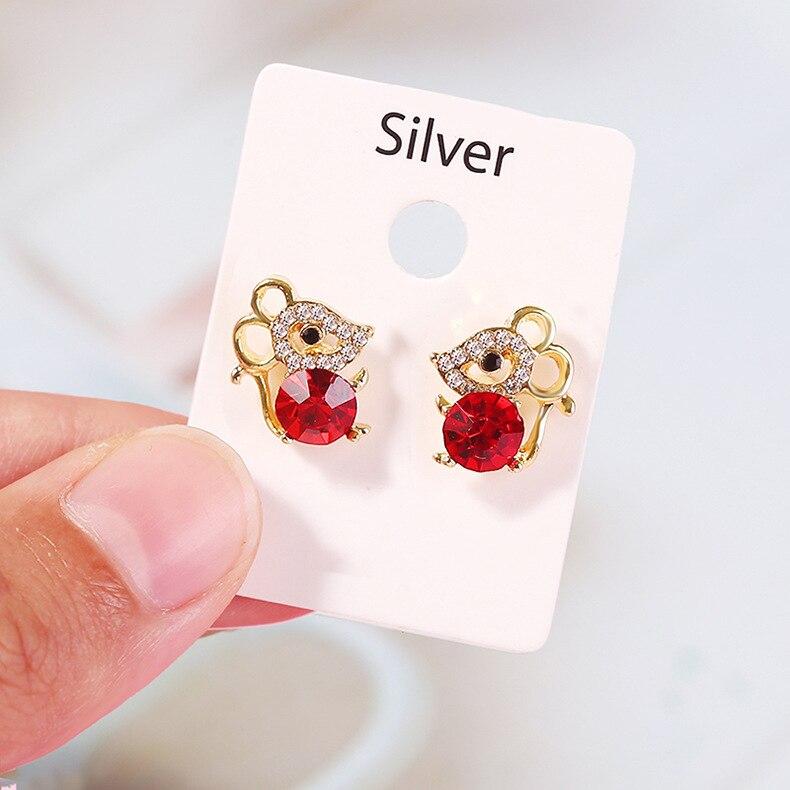 Pendientes de tuerca de Color dorado con diseño de ratón bonito con Micro diamantes de imitación para mujer niñas y niños, regalo de cumpleaños, bonitos pendientes de Animal, joyería
