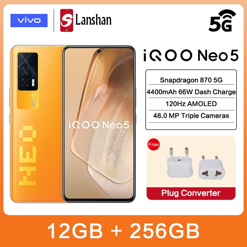 Оригинальный vivo IQOO Neo5 12 Гб 256 5G Snapdragon 870 4400 мА/ч, Батарея зарядки 6,62 дюйм 120 Гц активно-матричные осид, 48MP Камера NFC мобильный телефон