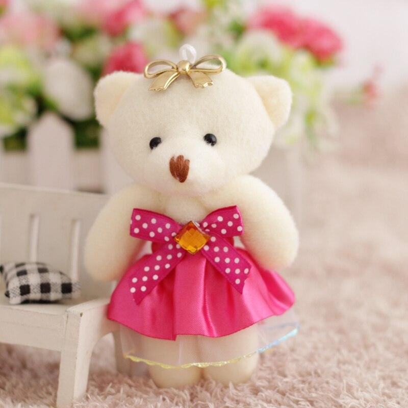 12 unids/lote de ramos de flores oso de peluche pequeño modelo de juguetes de felpa de algodón 12CM accesorio de vestido de fiesta de boda muñeca oso regalo de Navidad