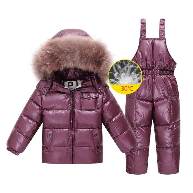 New Russia winter jacket for girls&boys coats children outerwear , warm duck down kids boy clothes shiny parka ski snowsuit
