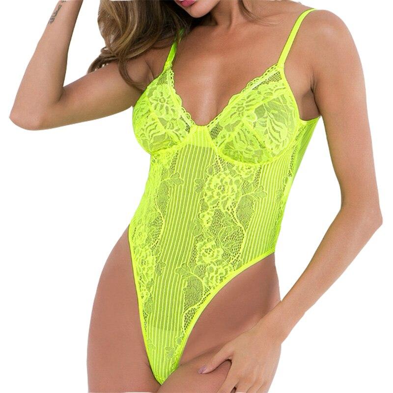 Body Sexy de encaje con perspectiva de verano, cuerpo delgado liso para Mujer, fiesta de Club, cuello en V erótico, combinación de malla de punto para Mujer GV365