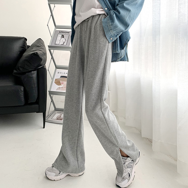 Gray Split Wide Leg Pants Women's High Waist Drooping Loose Straight Spring and Autumn Small Casual