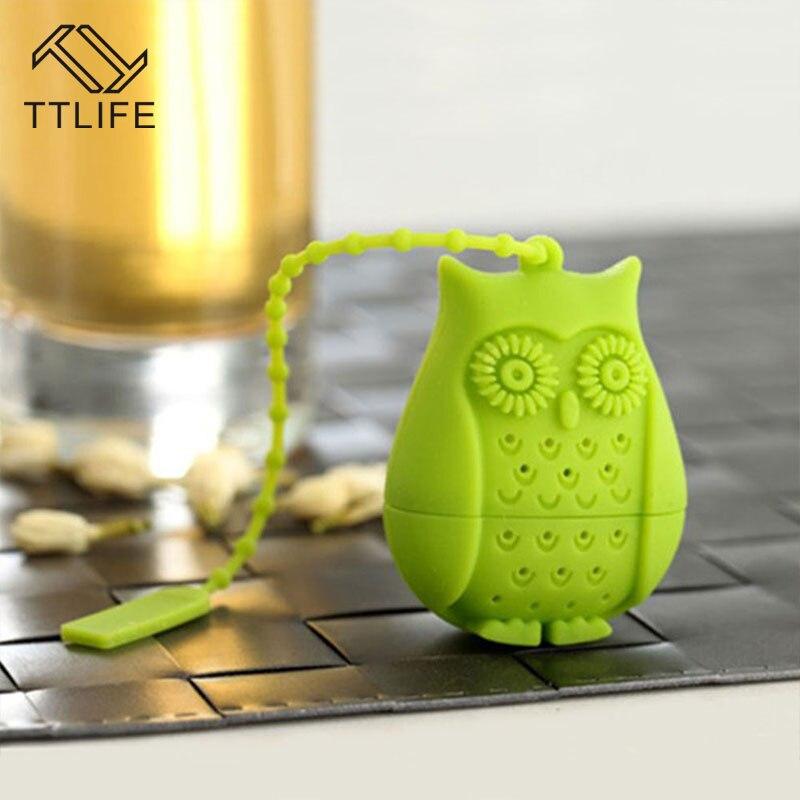 Bonito criativo coruja chá coador sacos de chá grau alimentício silicone loose-leaf chá infusor filtro difusor diversão dos desenhos animados chá acessórios