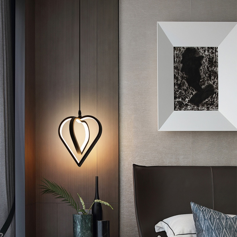 Minimalist Black Pendant Lights Iron Modern Led Bedroom Pendant Lights Nordic Design Suspension Luminaire Indoor Lighting EI50DD