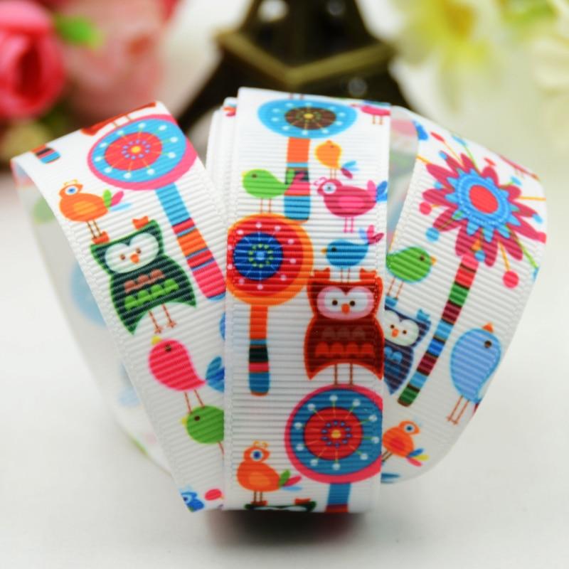 22mm 25mm 38mm 75mm Ruban satin OWL Cartoon Character printed Grosgrain Ribbon party decoration X-01276 10 Yards