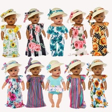 Baby New Born Fit 17 inch 43cm Doll Clothes Accessories Straw Dress Suit For Baby Birthday Gift