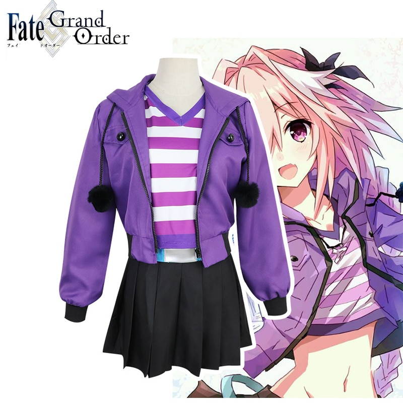 Coshome Fate Apocrypha Astolfo Cosplay Costumes Pink Wig Women Purple Jacket Spring Coat For Halloween Party christmas costume