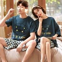 Couple Pajamas Women\'s Summer Men\'s Cotton Short-Sleeved Lion New Trending Hot Spring and Autumn Homewear Suit