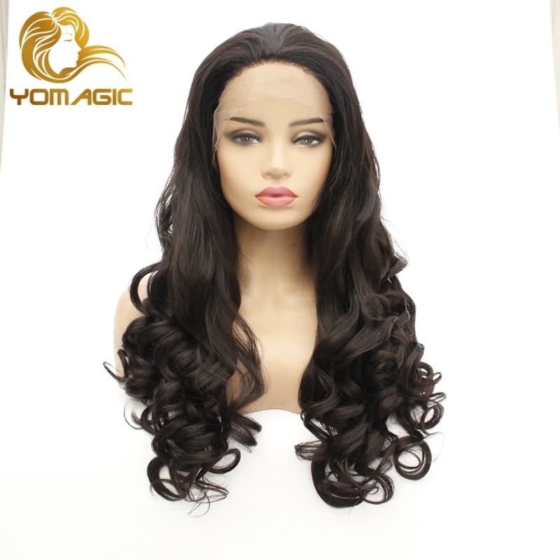 Pelucas con frente de onda de encaje suelto Yomagic, pelucas con minimechones de cabello sintético de Color marrón oscuro sin pegamento con línea de pelo Natural