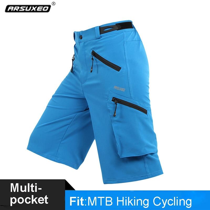 ARSUXEO, pantalones cortos de senderismo para hombre, deportes al aire libre, pantalones cortos transpirables con bolsillos para senderismo, pantalones cortos para bicicleta MTB, pantalones cortos para Camping y pesca