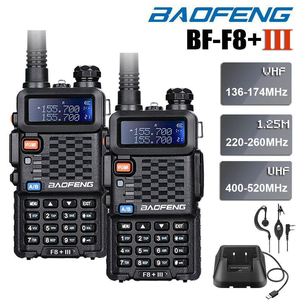2Pcs Baofeng BF-F8+ III Upgrade Walkie Talkie Police 2-Way Radio BF-F8+ III 5W UHF Dual Band Outdoor Long Range Ham Transceiver