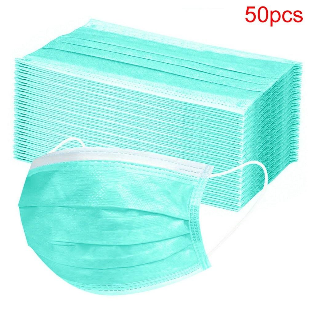 50pcs Mouth Маски Disposable Black Cotton Mouth Face mascarillas Non-Woven Маски Anti-Dust Маски 3 Filter Activated Anti dust