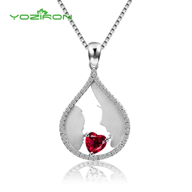Yoziron perla cristal rojo collares para mujeres colgantes de boda collar mamá amor Cadena de niños collares, joyas de accesorio regalo