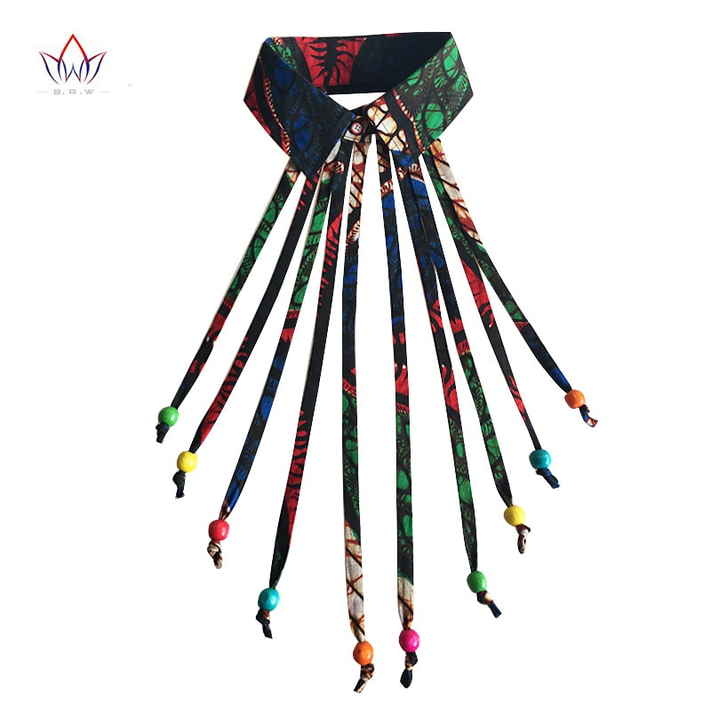Fashion Customized Print False Collar Vintage Detachable Collars African Clothes for Women Tie with Beads Accessories WYA065