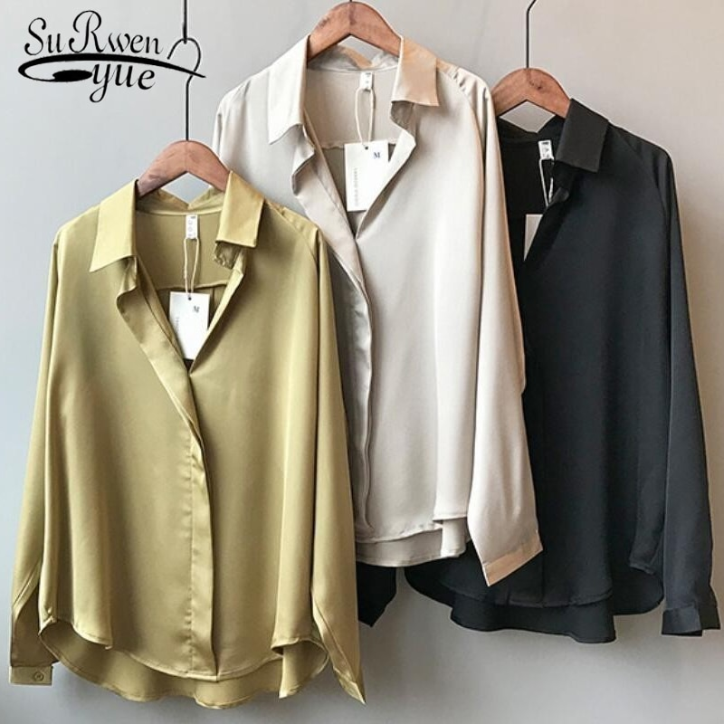 2021 Spring Women Fashion Long Sleeves Satin Blouse Vintage Femme V Neck Street Shirts Elegant Imitation Silk Blouse 5273 50