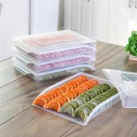 1 Pc Dumpling Tray Plastic Single Layer Sealed Food Container Storage Box Refrigerator Crisper Fridge Freezer Food Fresh Keeping